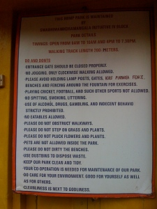 The Darndest Things You See in India - Part 4 (Park Signs)